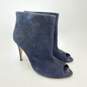 Tibi blue suede floral embroidered peep toe